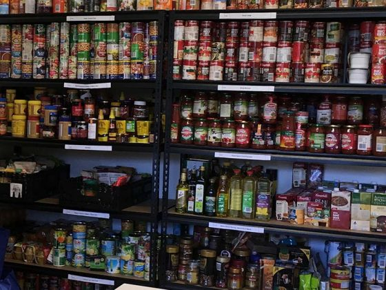 store room shelves with canned goods