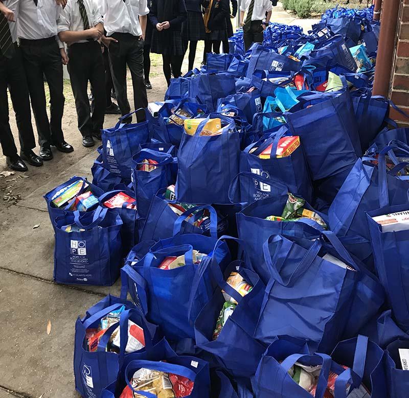 pile of food drive bags